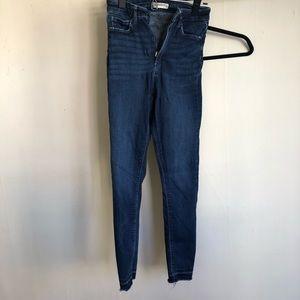 Zara stretchy raw hem jeans